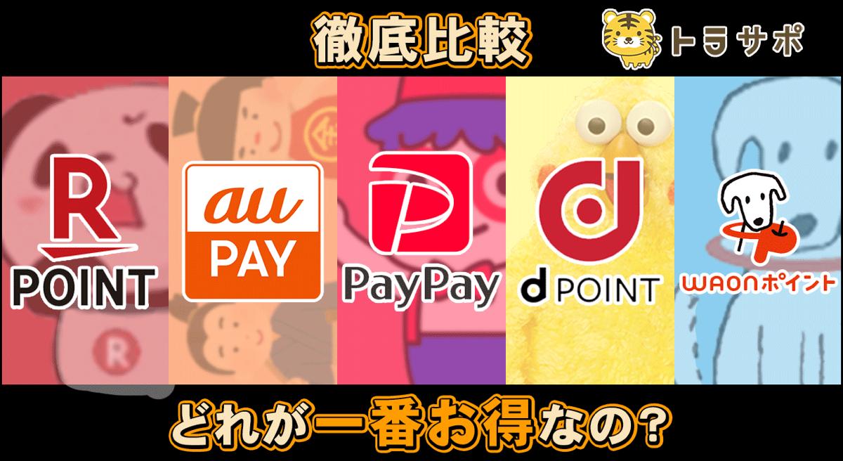 【徹底比較】楽天・au・PayPay・ドコモ・イオンはどれが一番お得なの?